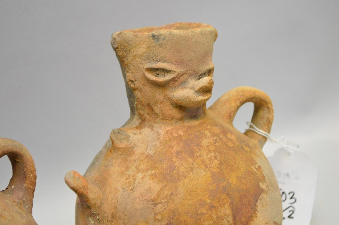 Two Pre-Columbian animal faced effigy pottery vessels, - 2