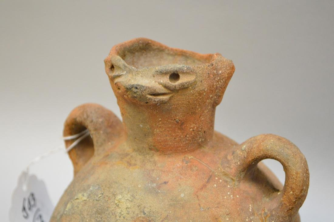 Two Pre-Columbian animal faced effigy pottery vessels, - 3
