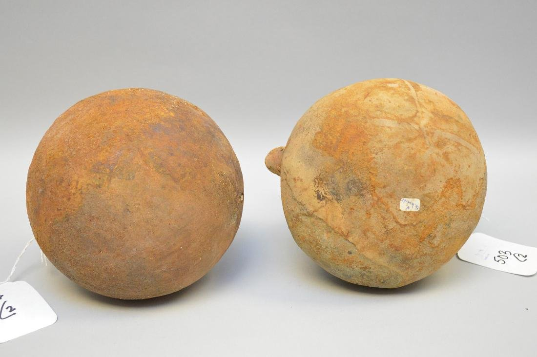 Two Pre-Columbian animal faced effigy pottery vessels, - 5