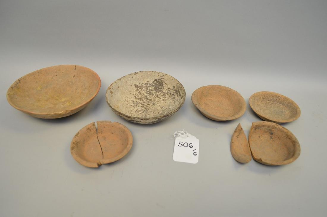 "Six Shallow Pre-Columbian Pottery Bowls. 4 - 7.5"""