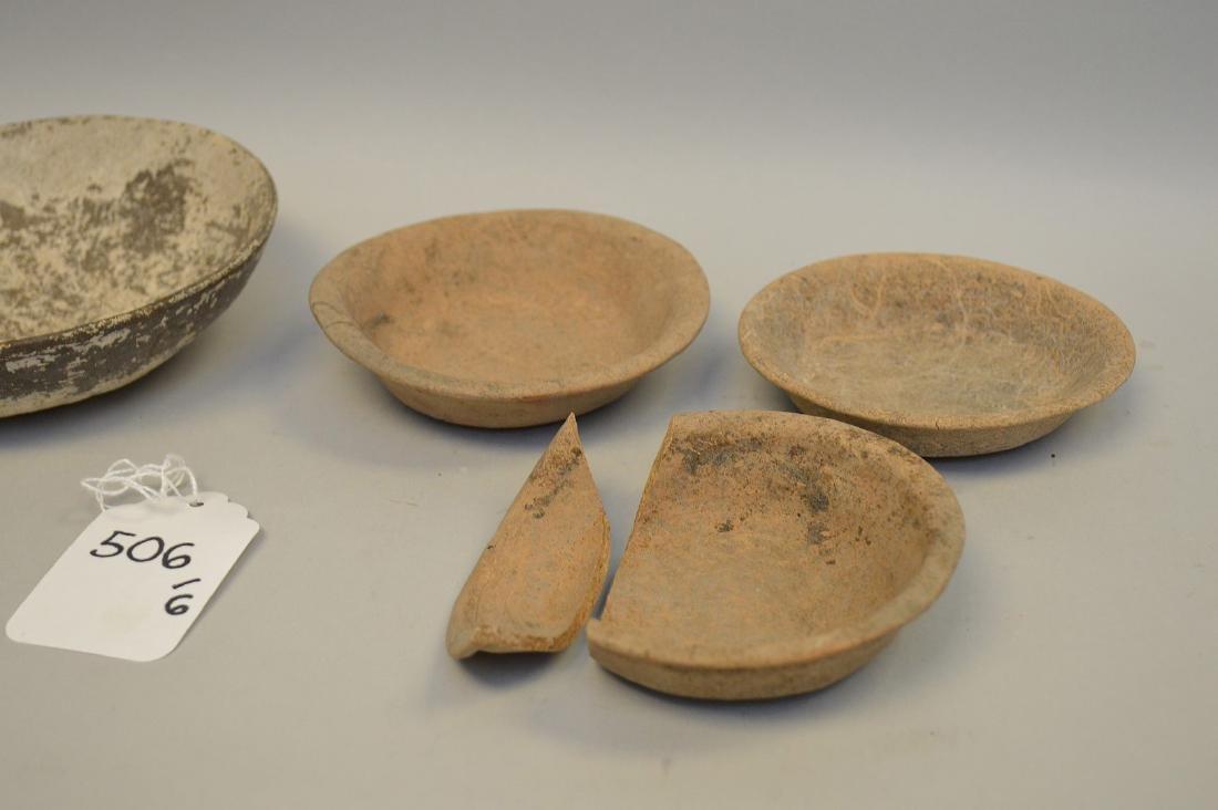 "Six Shallow Pre-Columbian Pottery Bowls. 4 - 7.5"" - 2"