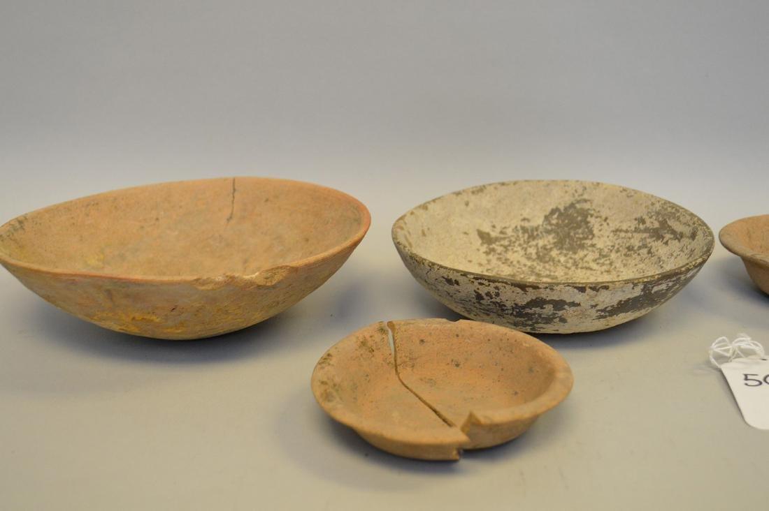 "Six Shallow Pre-Columbian Pottery Bowls. 4 - 7.5"" - 3"