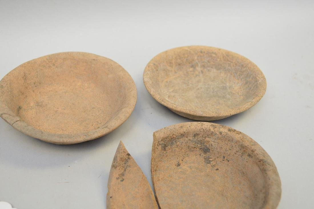 "Six Shallow Pre-Columbian Pottery Bowls. 4 - 7.5"" - 5"