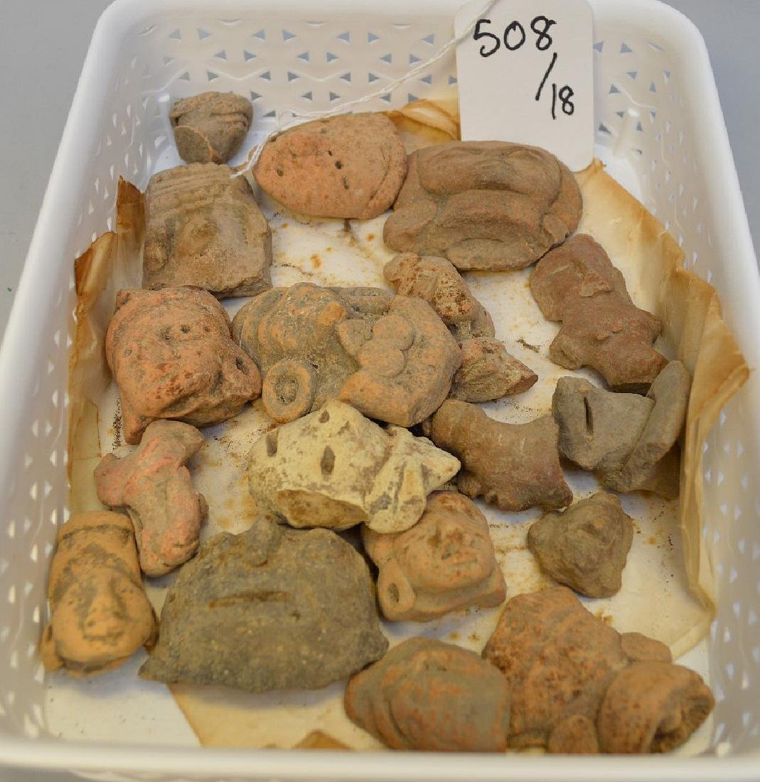 Collection of Pre-Columbian Pottery Figurine Heads.