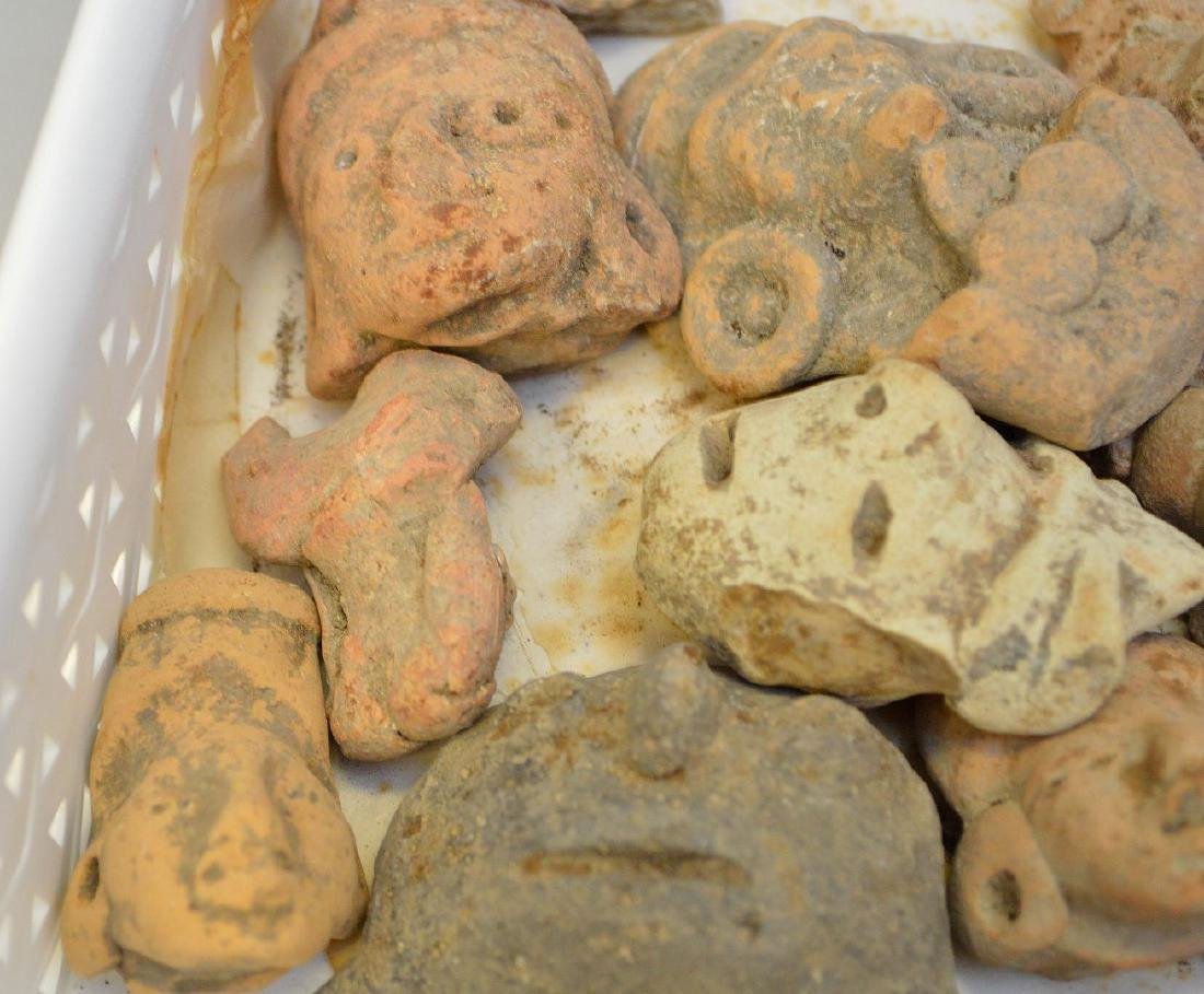 Collection of Pre-Columbian Pottery Figurine Heads. - 5