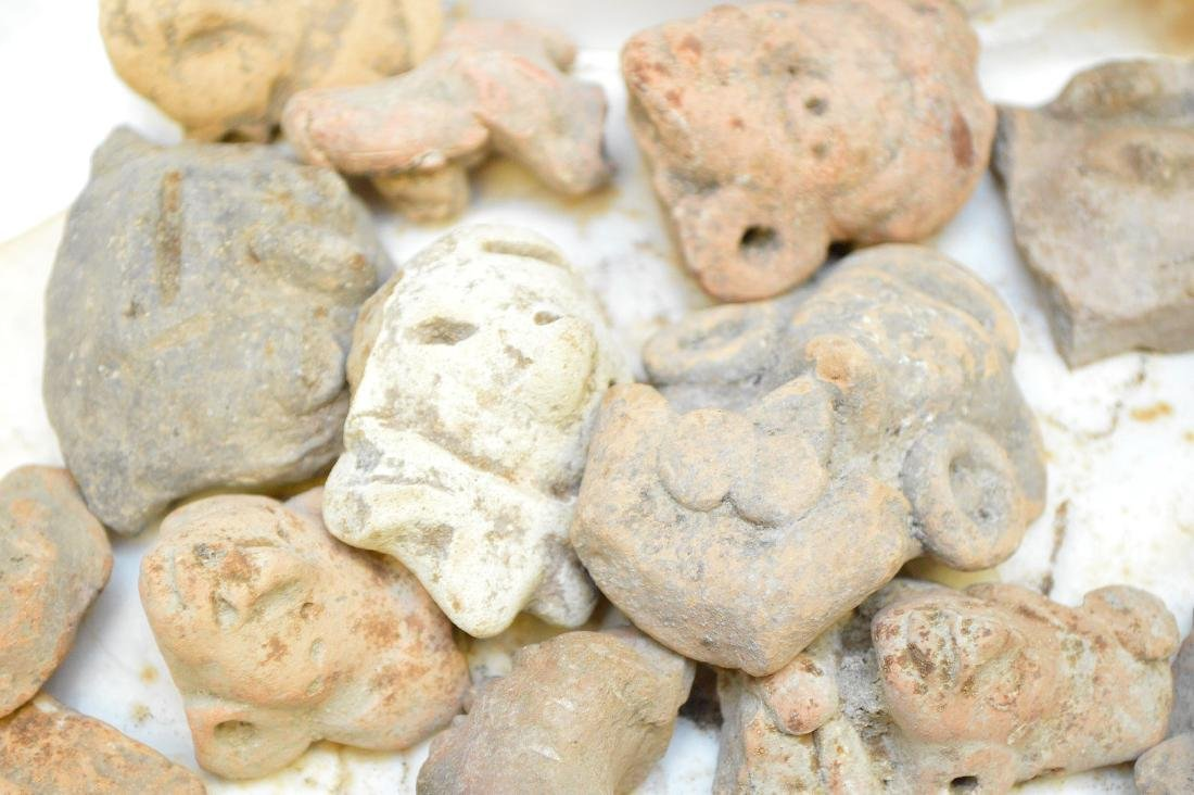 Collection of Pre-Columbian Pottery Figurine Heads. - 6