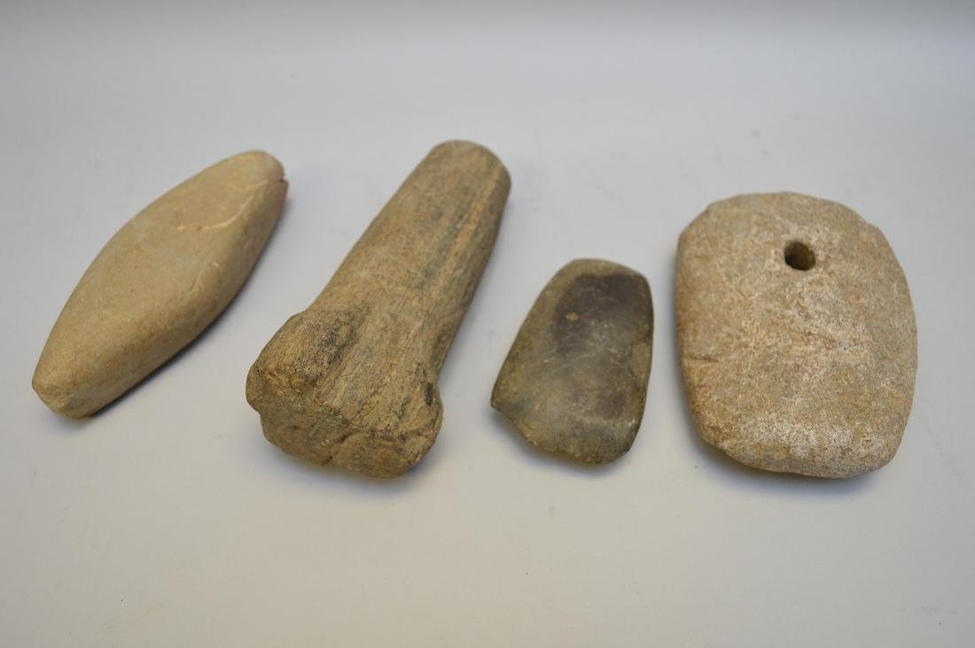 Early Native American Boatstone & Stone Tools. Lot of