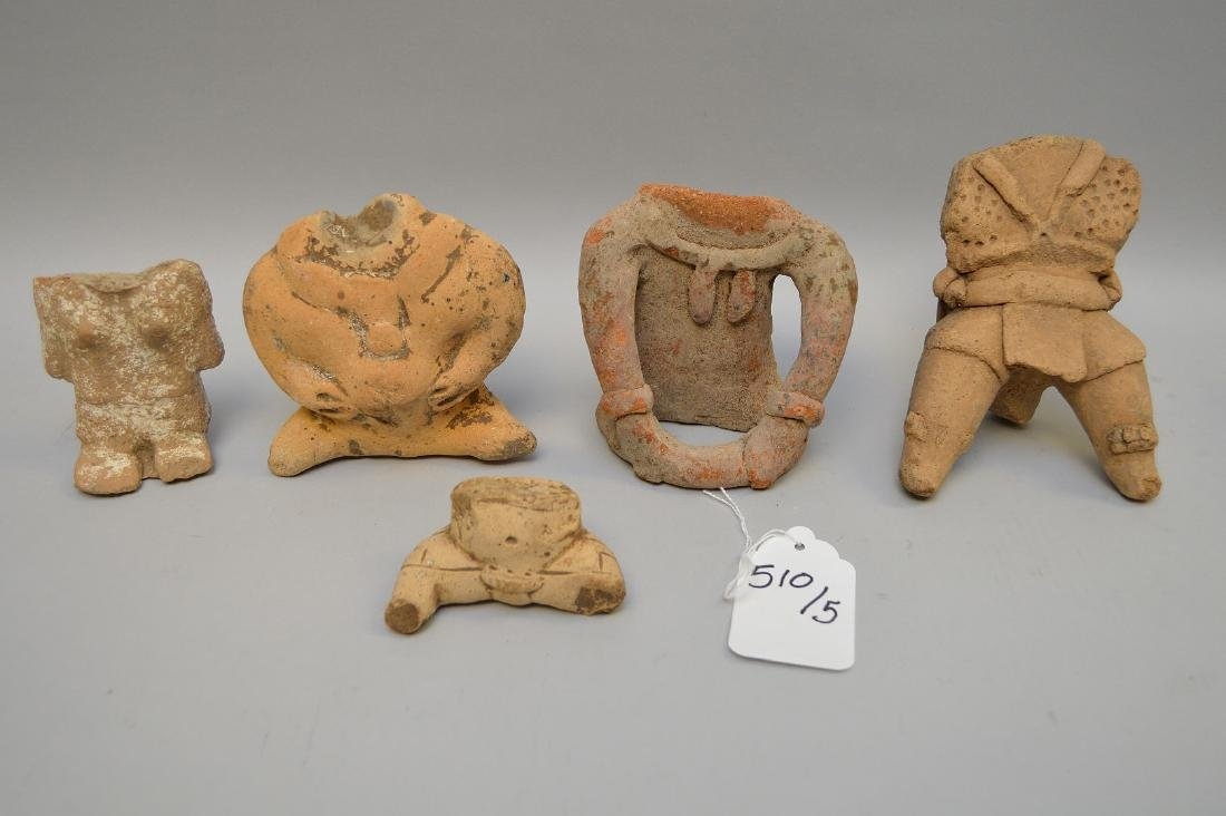 Five Pre-Columbian Pottery Headless Figures. Mexico to