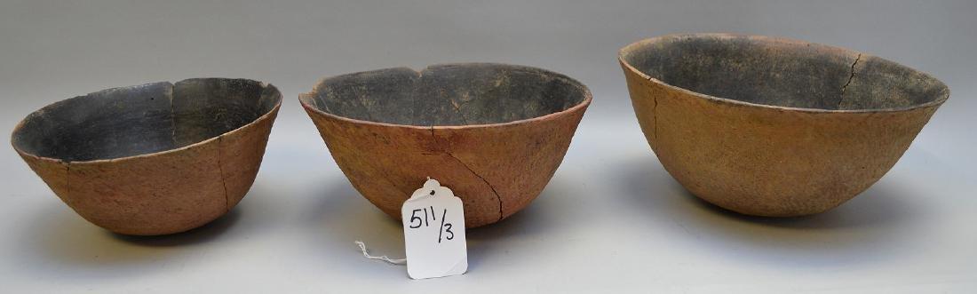 Three Salado Culture Pottery Fingernail Bowls. Tonto