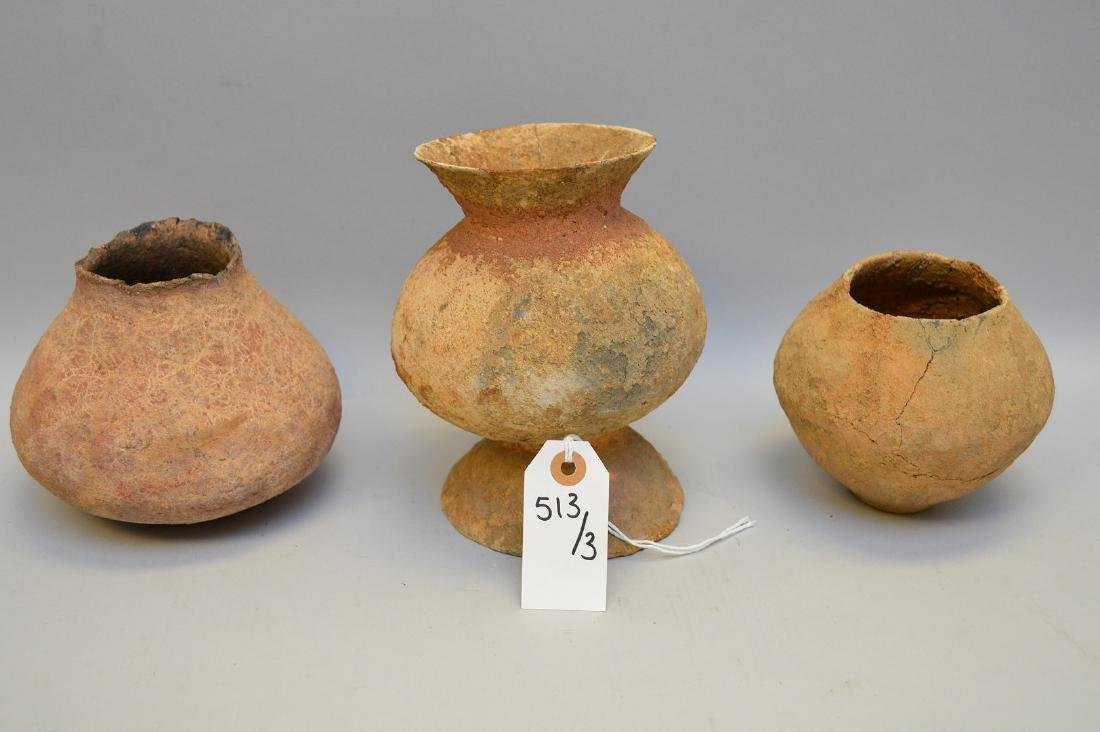 Three Salado Culture Native American Pottery Vessels.