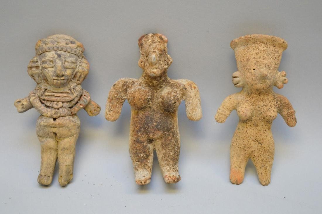 Three Pre-Columbian Pottery Figurines. Two figurines