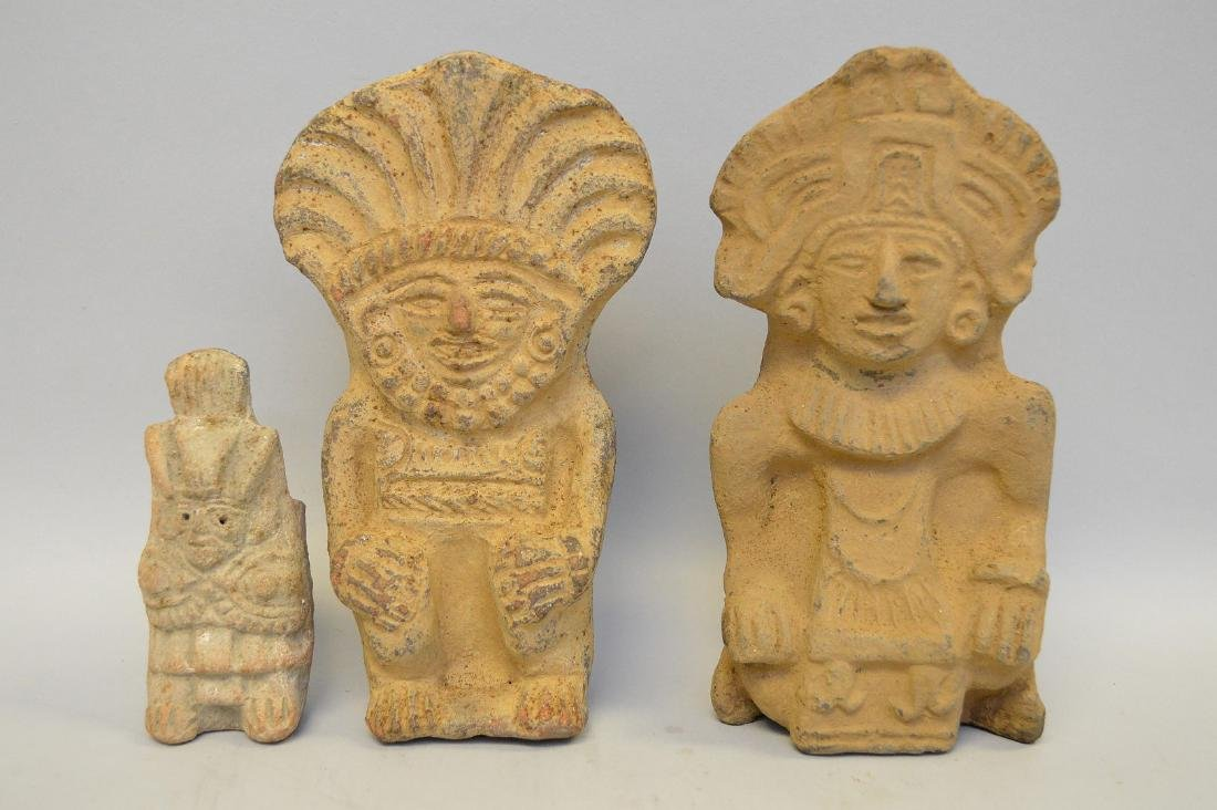 Three Pre-Columbian Warrior/God Pottery Effigy Vessels