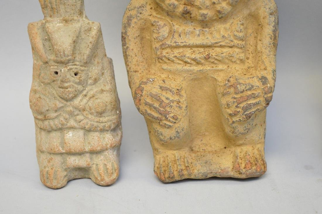 Three Pre-Columbian Warrior/God Pottery Effigy Vessels - 3