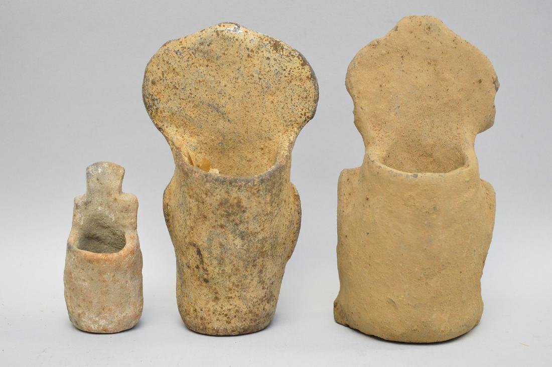 Three Pre-Columbian Warrior/God Pottery Effigy Vessels - 4