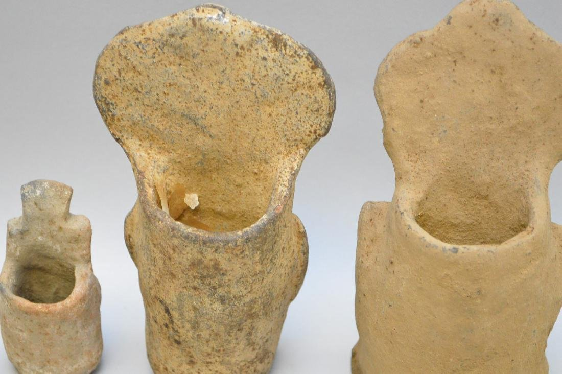 Three Pre-Columbian Warrior/God Pottery Effigy Vessels - 5
