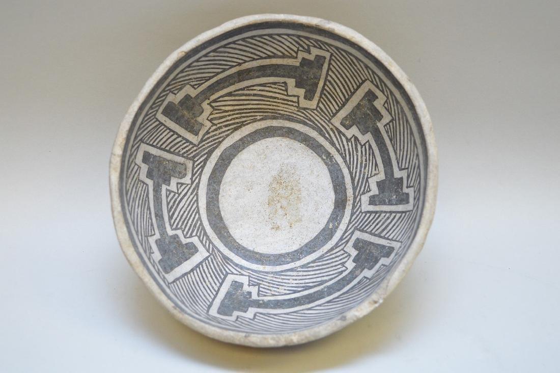 Mesa Verde Black-on-White Geometric Pottery Bowl