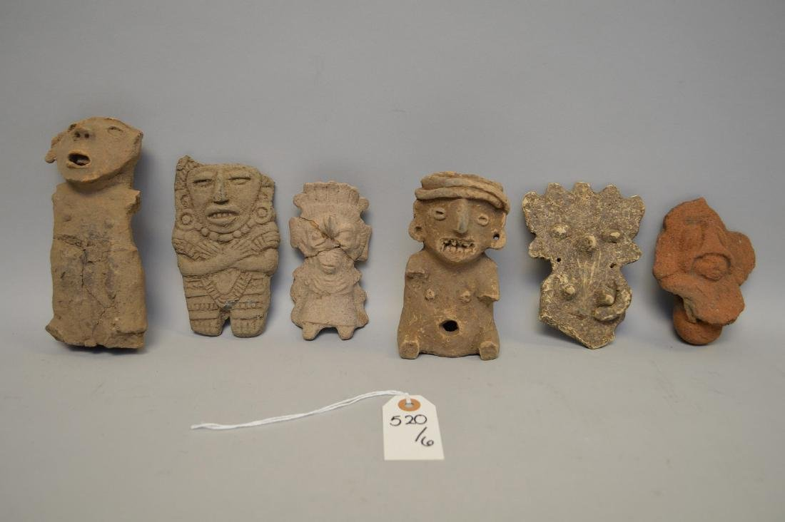Six Pre-Columbian Pottery Effigy Figures. Mexico to