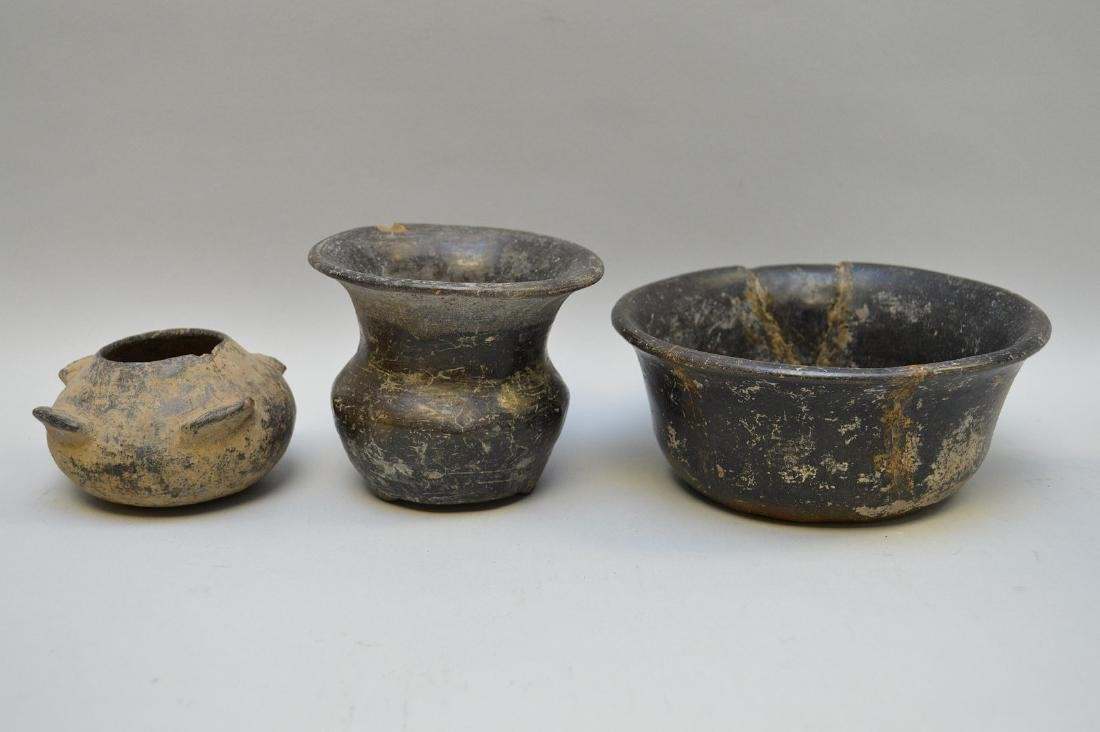 Three Pre-Columbian Black Ware Pottery Vessels -