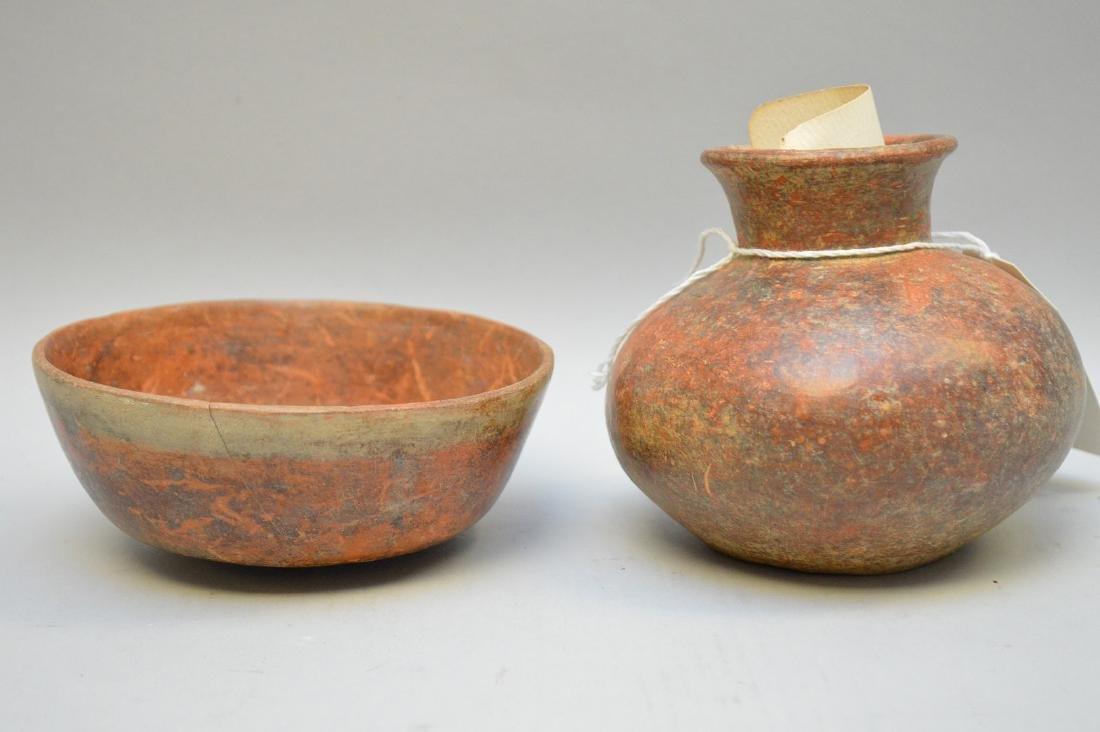 Pre-Columbian Pottery Nayarit Olla & Bowl (ca ~100 AD -