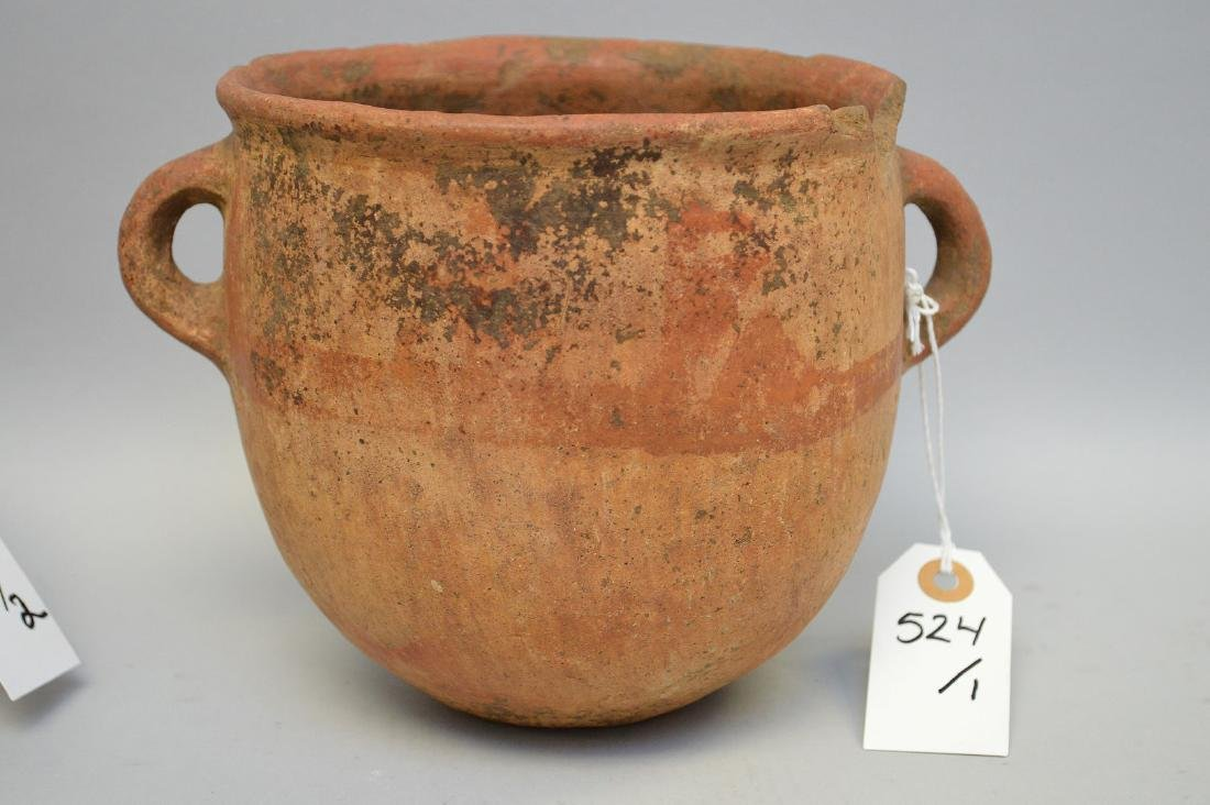 Large Pre-Columbian Double Handled Pottery Vessel.