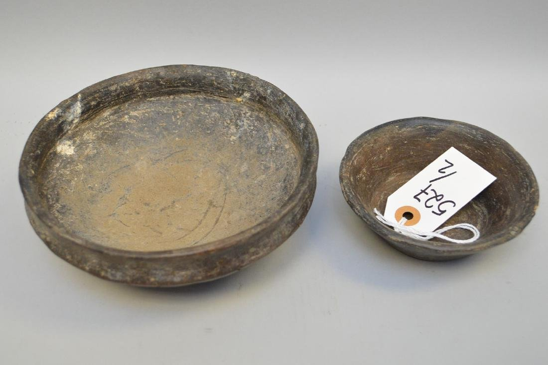 Two Pre-Columbian Cuicuilco Black Ware Pottery Bowls - 2