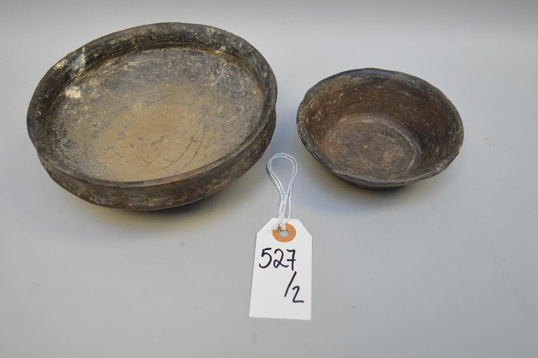 Two Pre-Columbian Cuicuilco Black Ware Pottery Bowls - 3