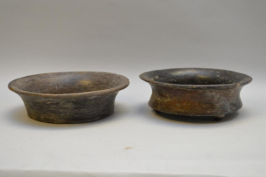 Two Pre-Columbian Flaring Black Ware Pottery Bowls
