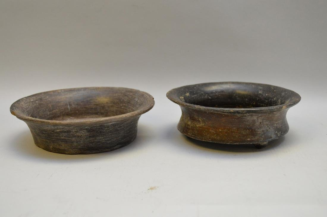 Two Pre-Columbian Flaring Black Ware Pottery Bowls - 2