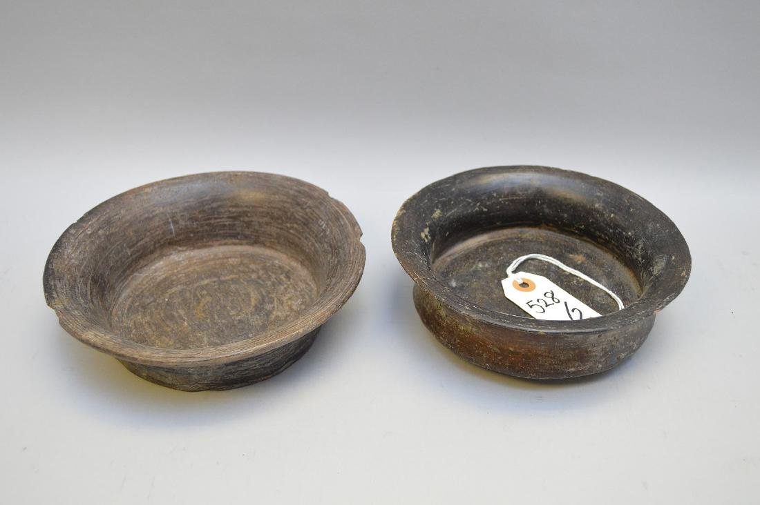 Two Pre-Columbian Flaring Black Ware Pottery Bowls - 3