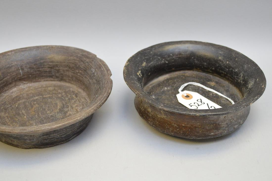 Two Pre-Columbian Flaring Black Ware Pottery Bowls - 4