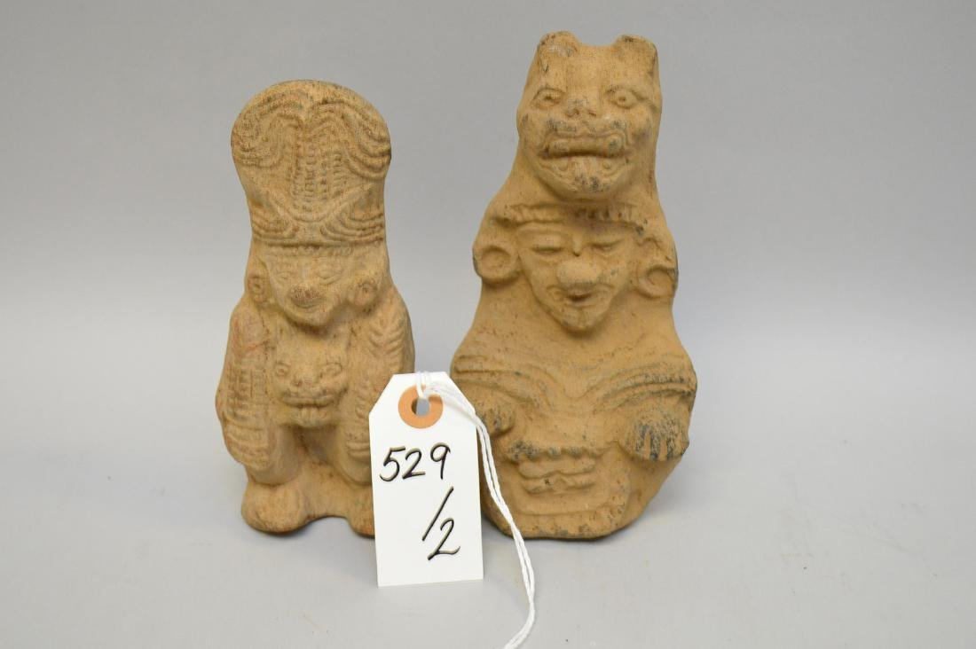 Two Pre-Columbian Ceramic God Effigy Figures. Larger is