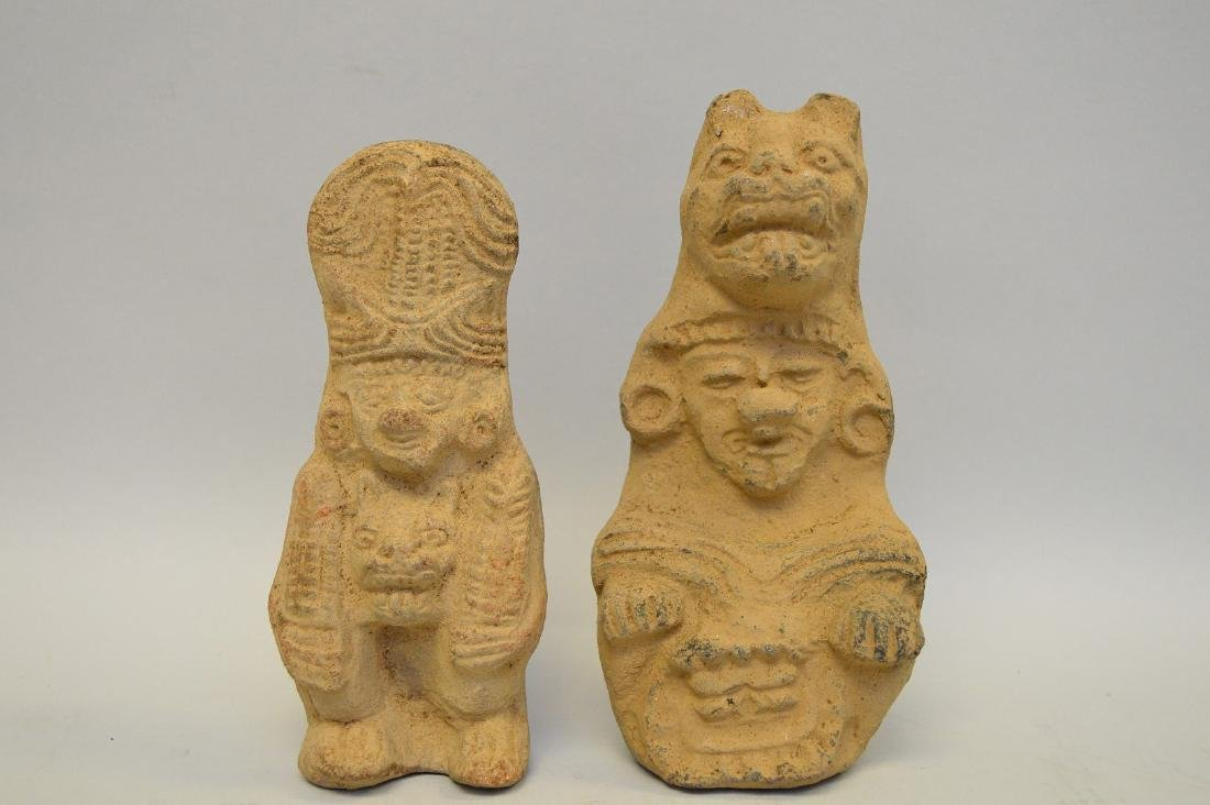 Two Pre-Columbian Ceramic God Effigy Figures. Larger is - 2
