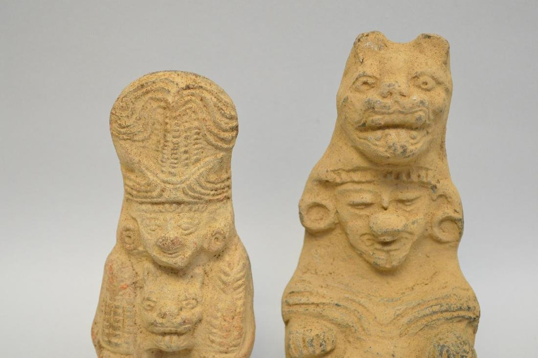 Two Pre-Columbian Ceramic God Effigy Figures. Larger is - 3
