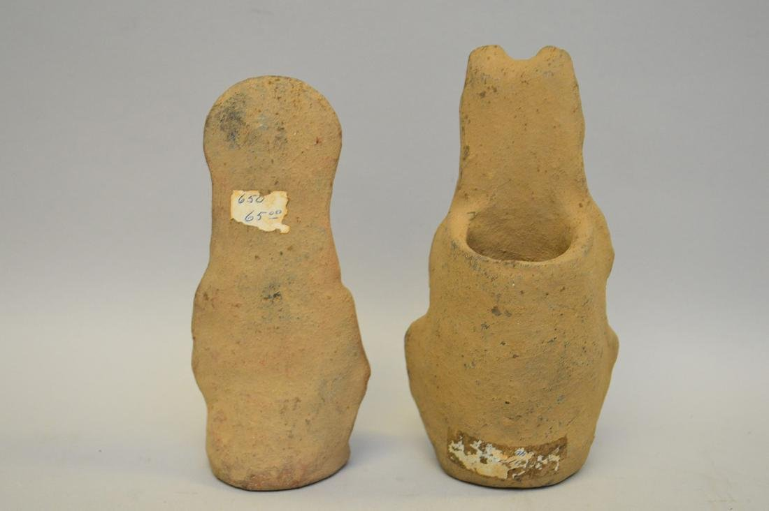 Two Pre-Columbian Ceramic God Effigy Figures. Larger is - 4
