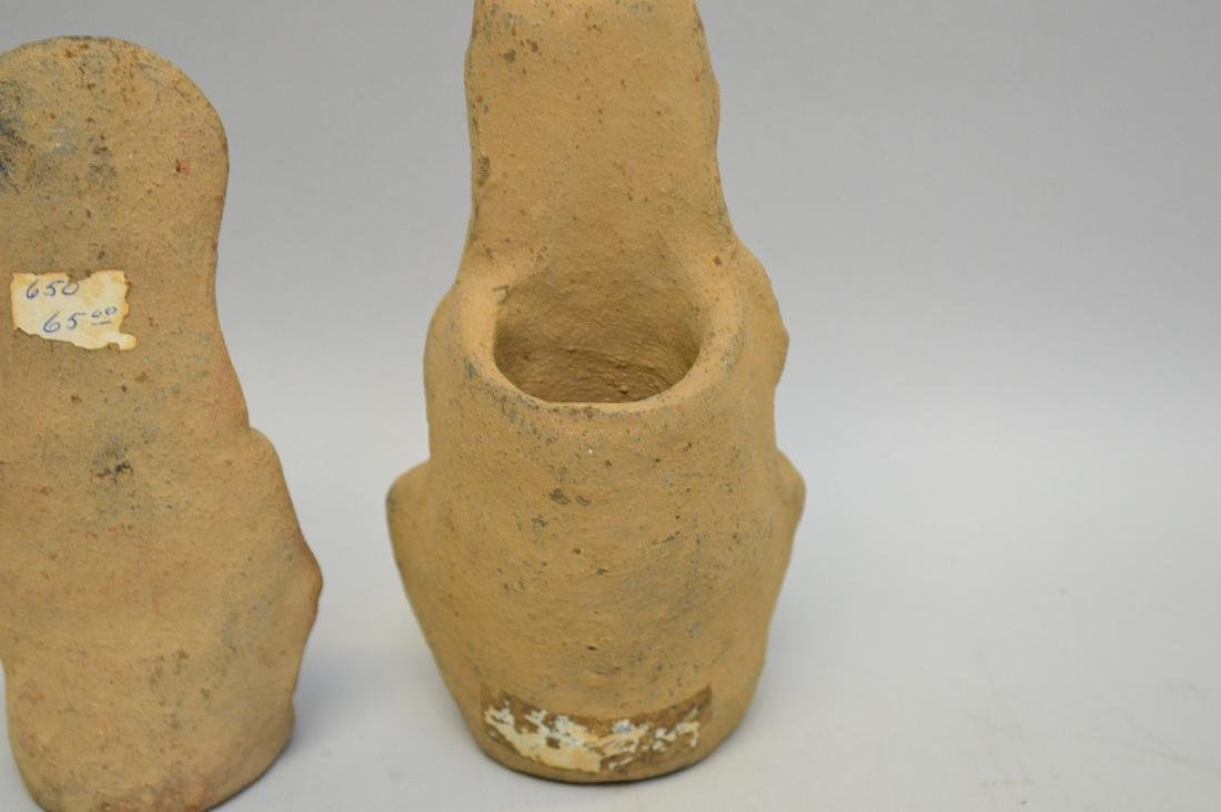 Two Pre-Columbian Ceramic God Effigy Figures. Larger is - 5