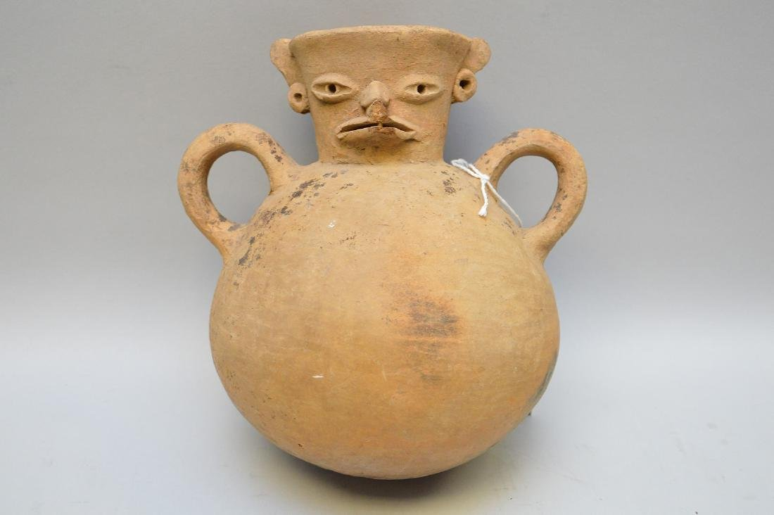 Pre-Columbian Bird Effigy Double Handled Pottery Jug.