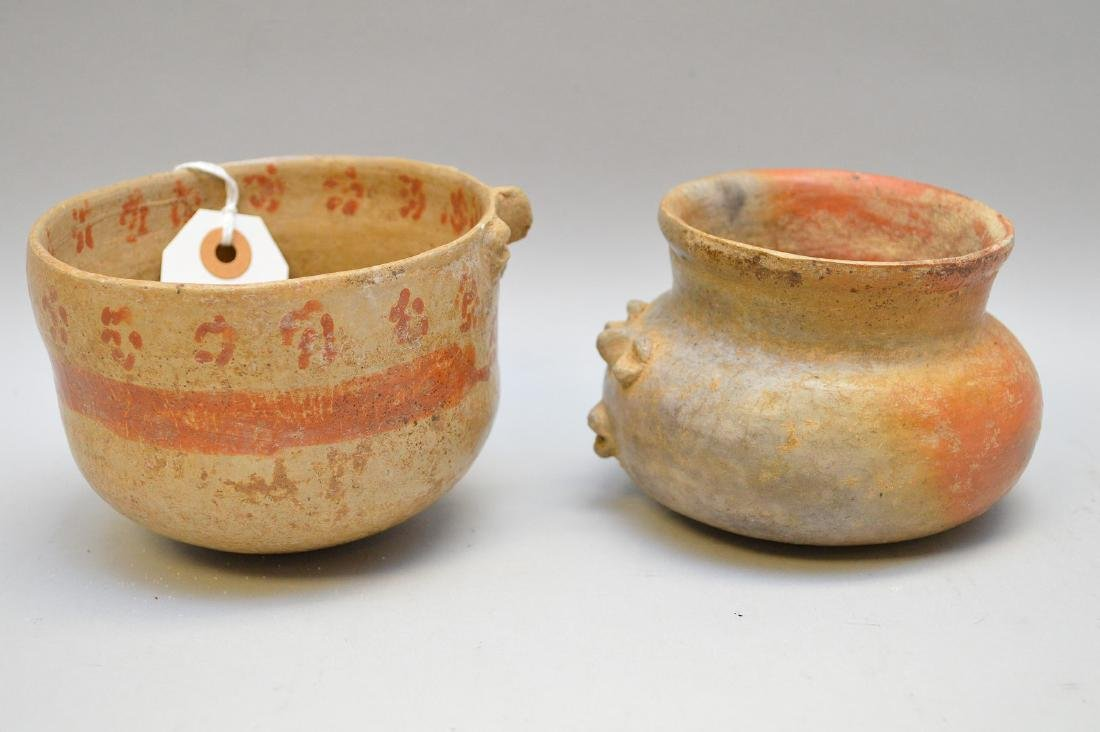 Pre-Columbian Bichrome Effigy Pottery Bowl & Olla