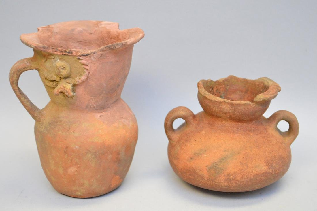 Two Pre-Columbian Pottery Handled Jugs - Central