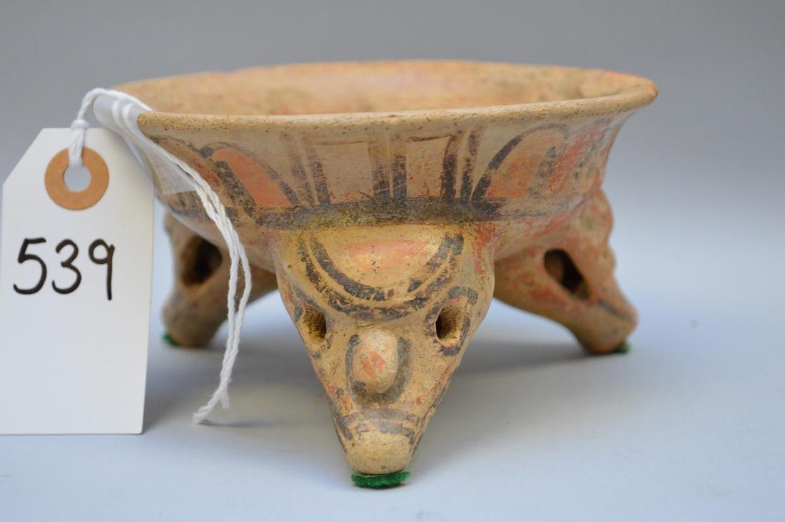 Pre-Columbian Polychrome Tripod Animal Effigy Pottery