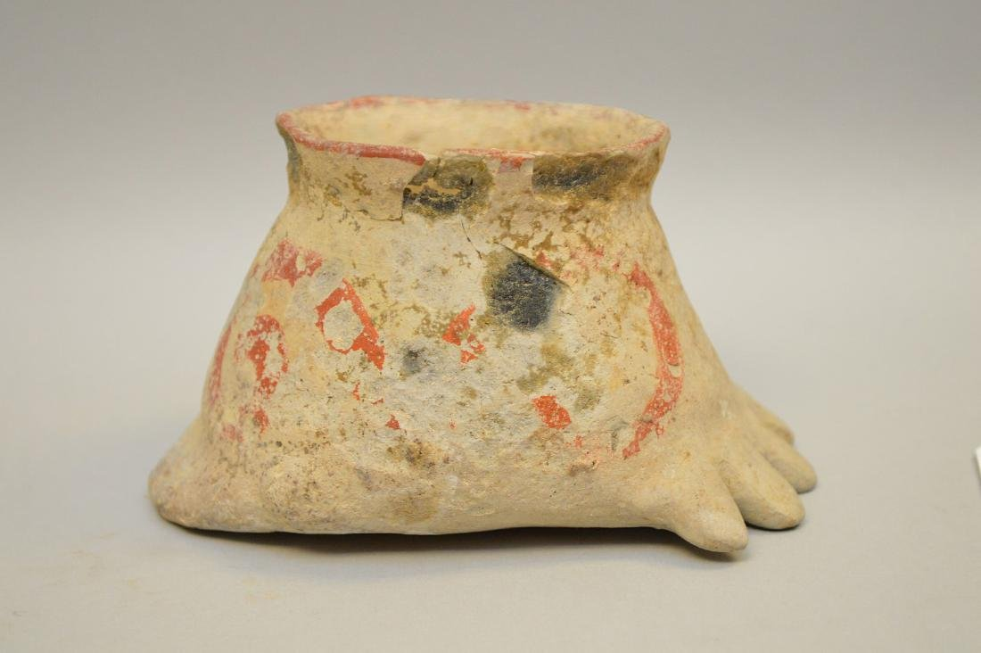 Pre Columbian Polychrome Pottery Foot-Shaped Cup -