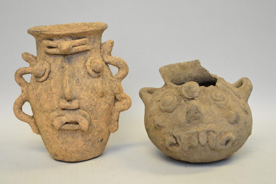 Two Pre-Columbian Pottery Funerary Urns - Peru.