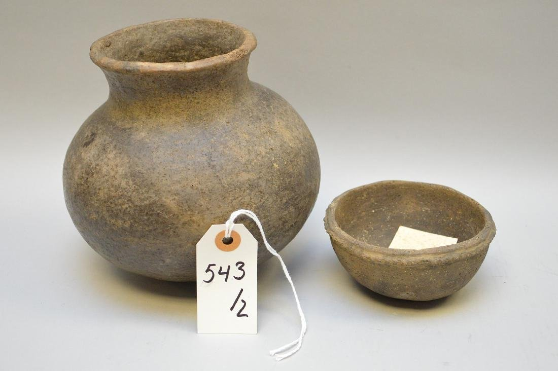 Middle Mississippian Pottery Urn & Bowl (ca ~ 1100AD -