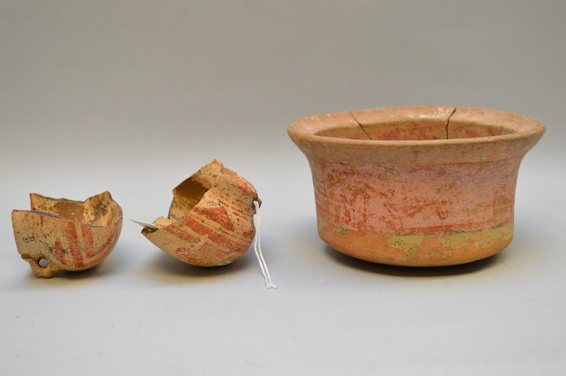 Pre-Columbian Polychrome Pottery Bowl and Small Pot- El