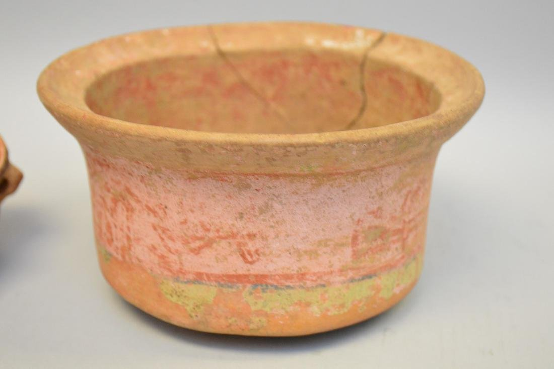 Pre-Columbian Polychrome Pottery Bowl and Small Pot- El - 2