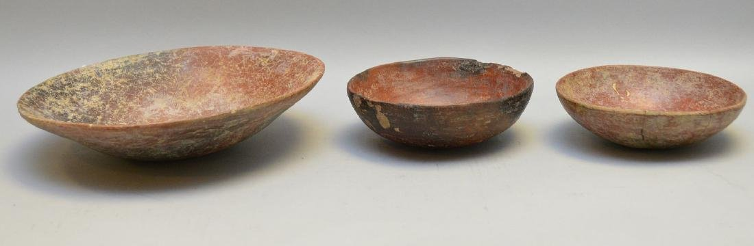 Three Pre-Columbian Red Slip Shallow Pottery Bowls -