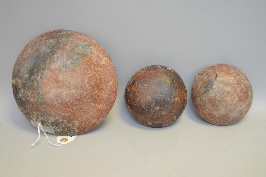 Three Pre-Columbian Red Slip Shallow Pottery Bowls - - 4
