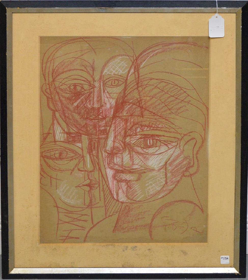 Patrick Boudon (French 1944-1988) Drawing Faces, 25 x