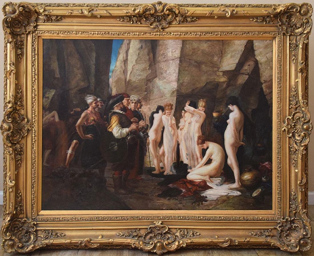 Large Decorative Slave Trade oil on canvas Painting, 36