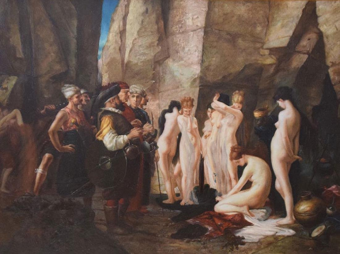 Large Decorative Slave Trade oil on canvas Painting, 36 - 2
