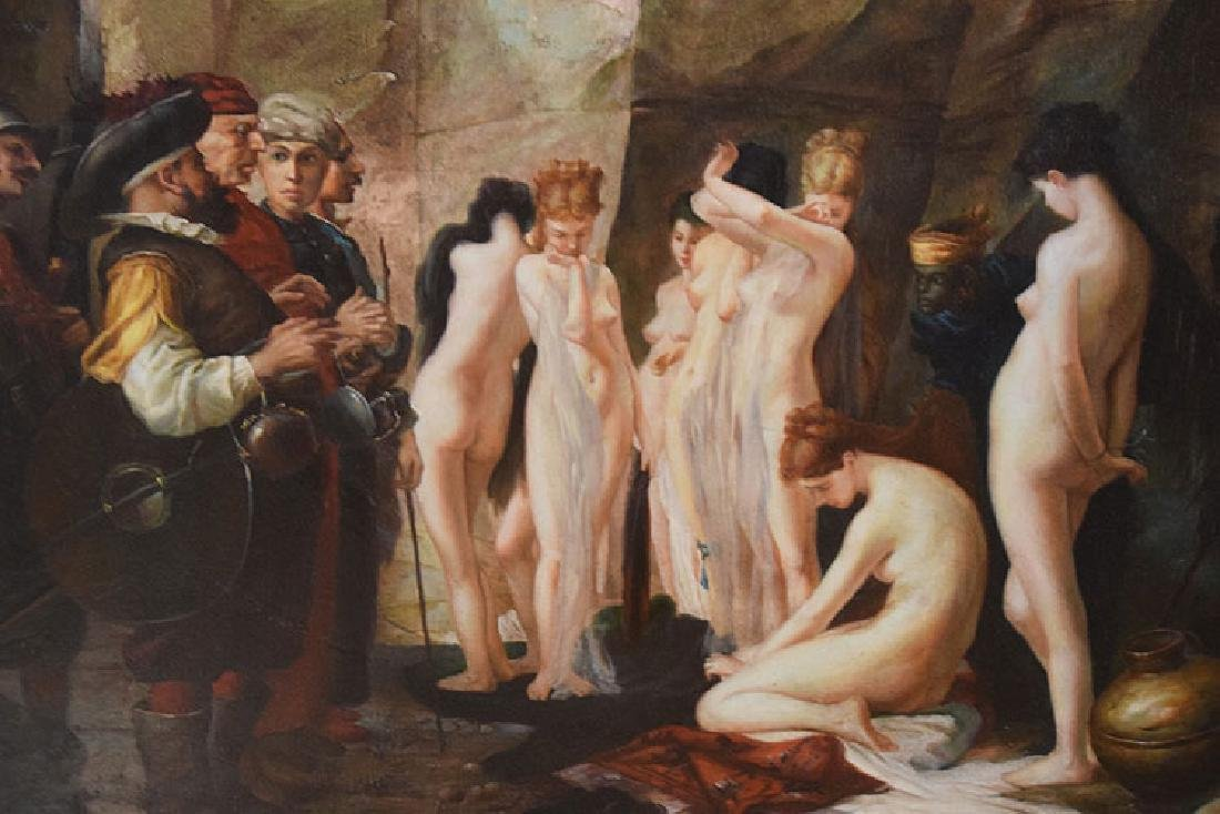 Large Decorative Slave Trade oil on canvas Painting, 36 - 3